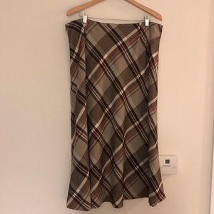 Croft & Barrow skirt brown plaid size 18